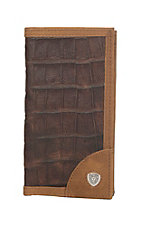 Ariat Brown Crocodile Print Rodeo Wallet / Checkbook Cover
