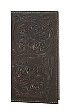 Ariat Brown Floral Embossed Rodeo Wallet / Checkbook Cover