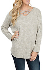 Umgee Women's Stone Criss Cross V-Neck Sweater