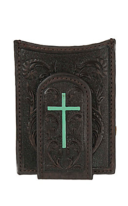 Ariat Dark Brown with Floral Tooling & Turquoise Cross Leather Card Case / Money Clip
