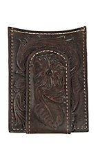 Ariat Dark Brown with Floral Tooling Leather Card Case / Money Clip