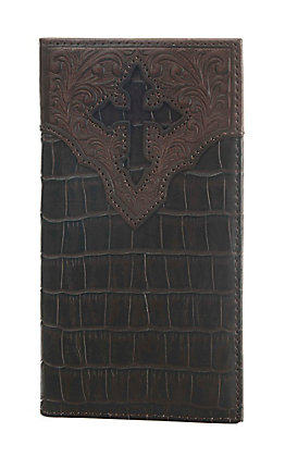 Ariat Chocolate Brown Crocodile Print Rodeo Wallet / Checkbook Cover