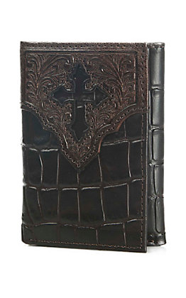 Ariat Dark Chocolate Crocodile Print Tri Fold Wallet