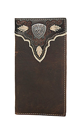 Ariat Distressed Brown with Overlay and Logo Shield Leather Checkbook / Rodeo Wallet