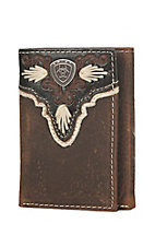 Ariat Brown with Overlay Heavy Stitching Leather Tri-Fold Wallet