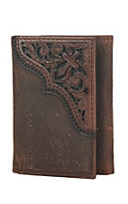 Ariat Brown with Cross Embossed Overlay Leather Tri-Fold Wallet