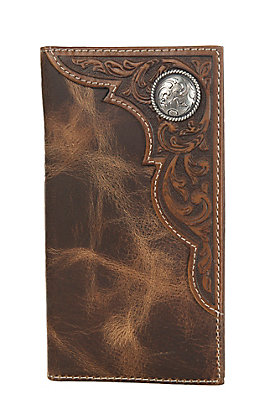 Ariat Distressed Brown with Corner Tooled Overlay and Circle Concho Rodeo Wallet / Checkbook Cover