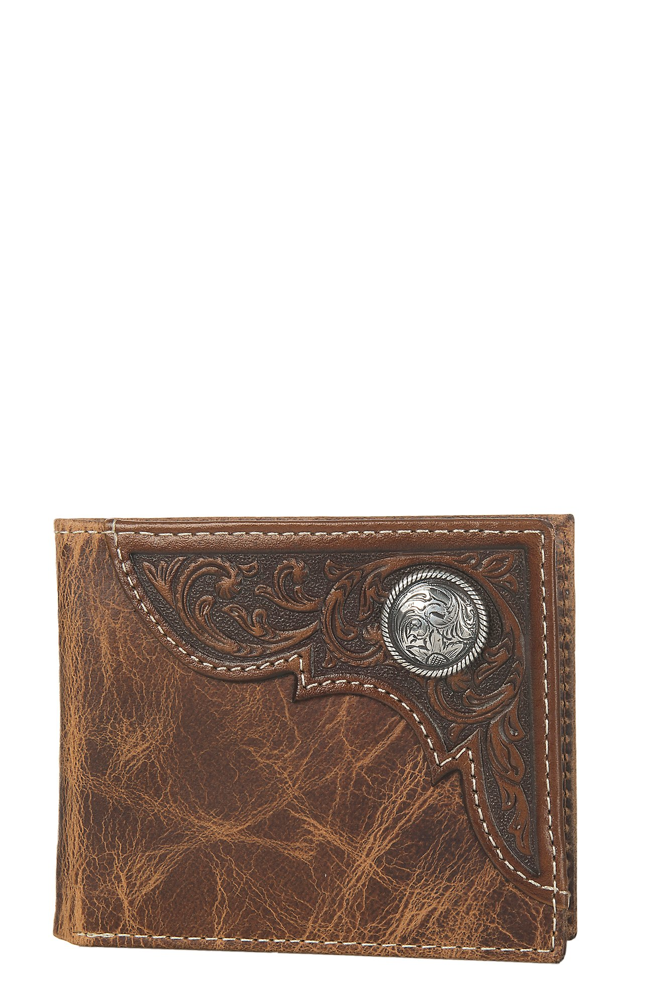 Image result for ariat Distressed Brown Tooled Overlay Bifold Wallet