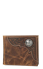 Ariat Disressed Brown Tooled Overlay Bi-Fold Wallet