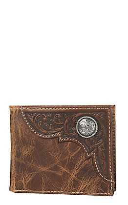 Ariat Distressed Brown Tooled Overlay Bi-Fold Wallet