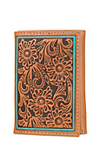 Ariat Cognac Floral Embossed with Turquoise Edge Tri-Fold Wallet