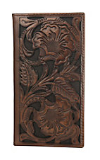 Ariat Two Tone Brown Floral Embossed Rodeo Wallet / Checkbook Cover