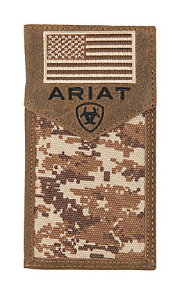 Ariat Patriot Digital Camo Flag Rodeo Wallet / Checkbook Cover