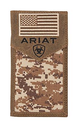 Ariat Patriot Digital Camo Flag Rodeo Wallet / Checkbook Cover