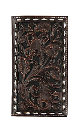 Ariat Chocolate Floral Buckstitch Rodeo Wallet / Checkbook Cover