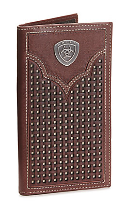 Ariat Brown Basketweave with Ivory Inlay and Concho Rodeo Wallet / Checkbook Cover