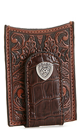 Ariat Brown Floral Tooled and Croc Print Leather Card Case