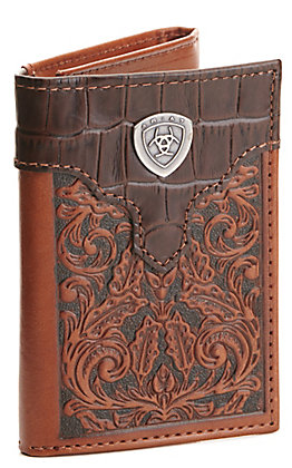Ariat Floral Embossed and Gator Print Tri-Fold Wallet