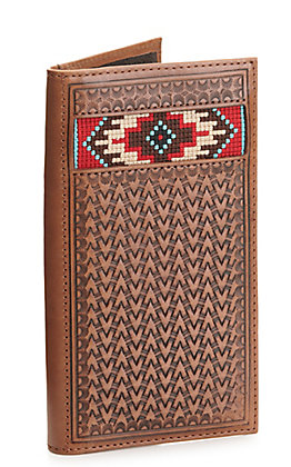 Ariat Brown Basketweave with Aztec Embroidery Rodeo Wallet / Checkbook Cover