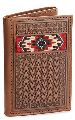 Ariat Brown Basketweave with Aztec Embroidery Tri-Fold Wallet