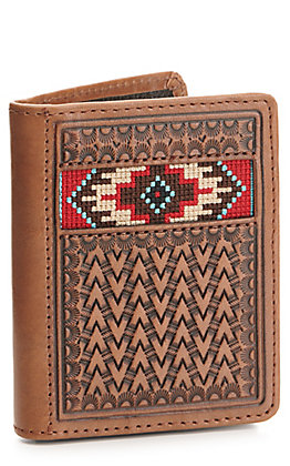 Ariat Brown Basketweave with Aztec Embroidery Bi-Fold Flipcase Wallet