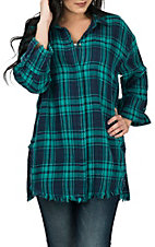 Umgee Women's Emerald Plaid Frayed Edge Long Sleeve Fashion Shirt