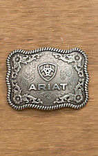 Ariat Silver Filigree with Ariat Logo Scalloped Rectangular Buckle