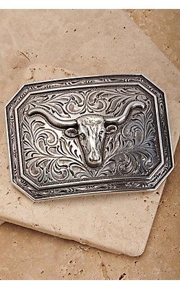 Ariat Silver Longhorn Rectangle Belt Buckle