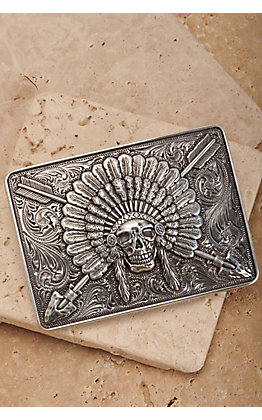 Ariat Silver Chief Skull Rectangle Belt Buckle