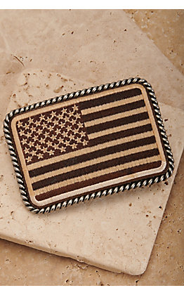 Ariat Silver USA Flag Patch with Rope Edge Rectangle Belt Buckle