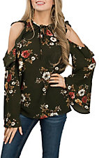 Umgee Women's Olive Floral Cold Shoulder Fashion Shirt