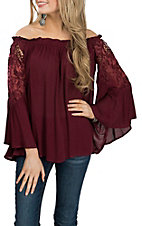 Umgee Women's Wine Off the Shoulder Bell Sleeve Fashion Shirt