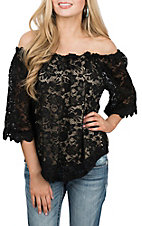 Umgee Women's Black Lace Off the Shoulder Fashion Shirt