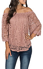 Umgee Women's Rose Off the Shoulder Floral Crochet Bell Sleeve Top