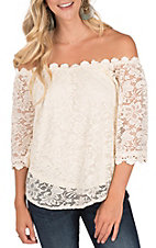 Umgee Women's Natural Off the Shoulder Floral Lace Top