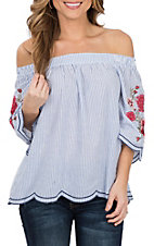 Umgee Women's Blue and White Stripe with Floral Embroidery Off the Shoulder Fashion Shirt