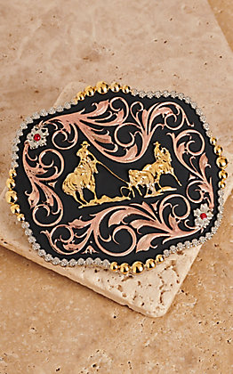 Montana Silversmiths Tri-Color Team Ropers Traditional Belt Buckle