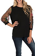Umgee Women's Black Sheer Floral Embroidered Puff Sleeve Top