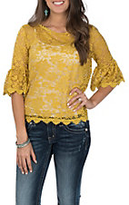 Umgee Women's Mustard Lace 3/4 Ruffle Sleeve Fashion Top