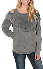 Umgee Women's Grey Cold Shoulder Top