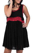 Umgee Women's Black and Red Sleeveless Dress