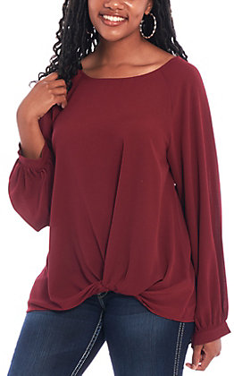 Umgee Women's Merlot Balloon Fashion Top