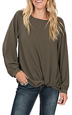Umgee Women's Solid Olive Puff Sleeve Fashion Top