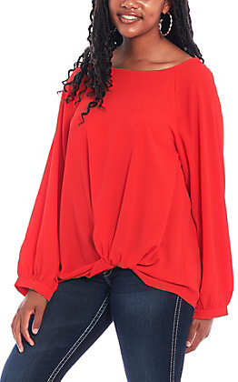 Umgee Women's Red Balloon Fashion Top