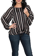 Umgee Women's Black Stripe Fashion Top