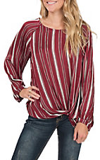 Umgee Women's Wine Stripe Fashion Top