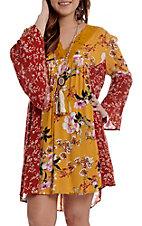 Umgee Women's Mustard Floral Bell Sleeve Dress