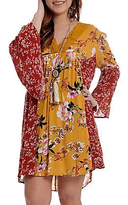UMGEE Women's Mustard Floral Bell Sleeve Dress
