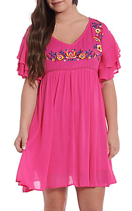 UMGEE Women's Hot Pink Floral Embroidered Ruffle Short Sleeve Dress