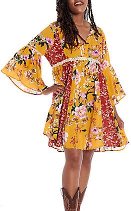 UMGEE Women's Mango & Red Multi Floral Bell Sleeve Dress